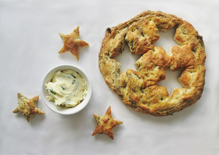 Herbed Focaccia with Green Onion Parmesan Butter